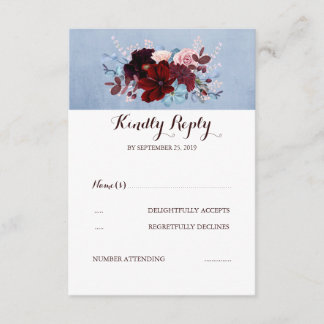 Burgundy and Dusty Blue Wedding RSVP