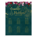 Burgundy and Emerald Wedding Seating Poster