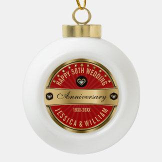Burgundy And Gold 50 Wedding Anniversary Ceramic Ball Christmas Ornament