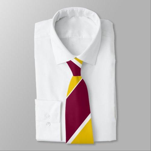 Burgundy and Gold Broad Regimental Stripe Neck Tie