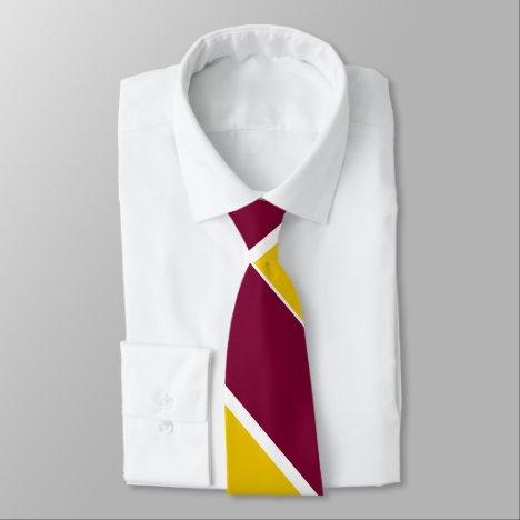 Burgundy and Gold Broad University Stripe Tie