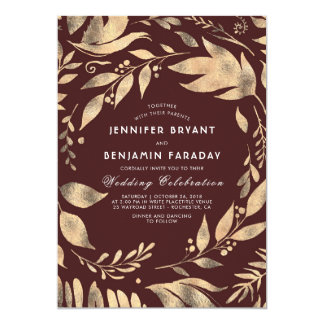 Burgundy and Gold Elegant Leaves Fall Wedding Card