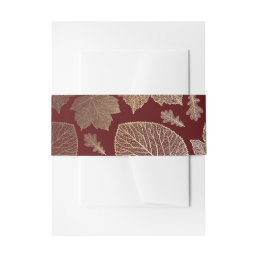 burgundy  and gold fall leaves wedding invitation belly band