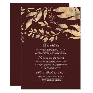 Burgundy and Gold Fall Wedding Information Guest Card