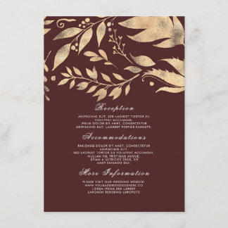 Burgundy and Gold Fall Wedding Information Guest Enclosure Card