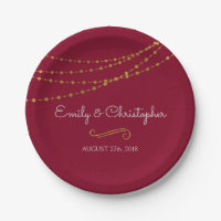 Burgundy and Gold Foil String Lights Plates