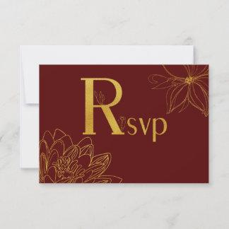 Burgundy and Gold Glitter Floral RSVP Card