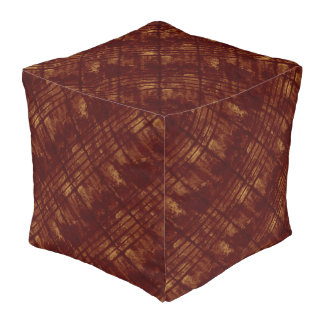 Burgundy and Gold Grungy Parallel Lines Cube Pouf