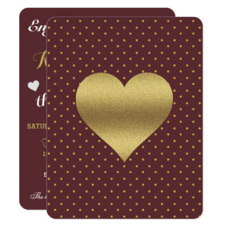Burgundy And Gold Heart Polka Dot Party Invitation