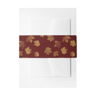 Burgundy and Gold Leaf Autumn Invitation Belly Band