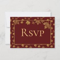 Burgundy and Gold Leaf RSVP Card