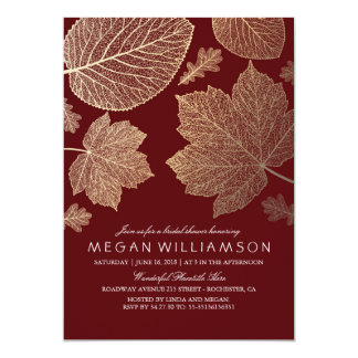 Burgundy and Gold Leaves Fall Bridal Shower Card