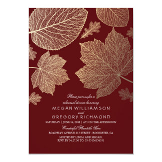 Burgundy and Gold Leaves Fall Rehearsal Dinner Invitation