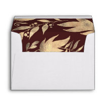 Burgundy and Gold Leaves Fall Wedding Envelope
