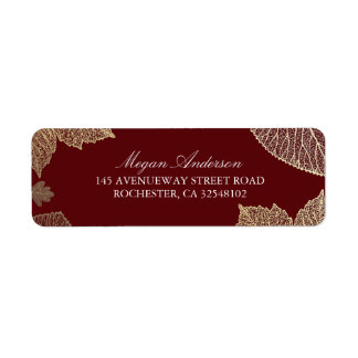 Burgundy and Gold Leaves Fall Wedding Label