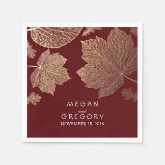 Burgundy and Gold Leaves Fall Wedding Paper Napkin