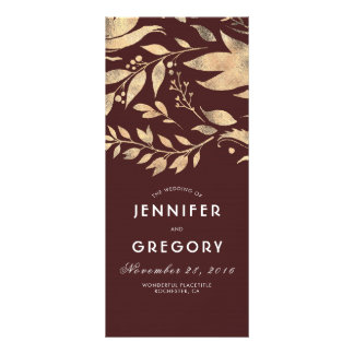Burgundy and Gold Leaves Fall Wedding Programs