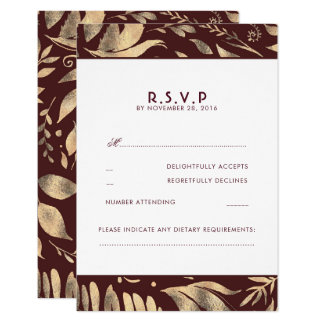 Burgundy and Gold Leaves Fall Wedding RSVP Card