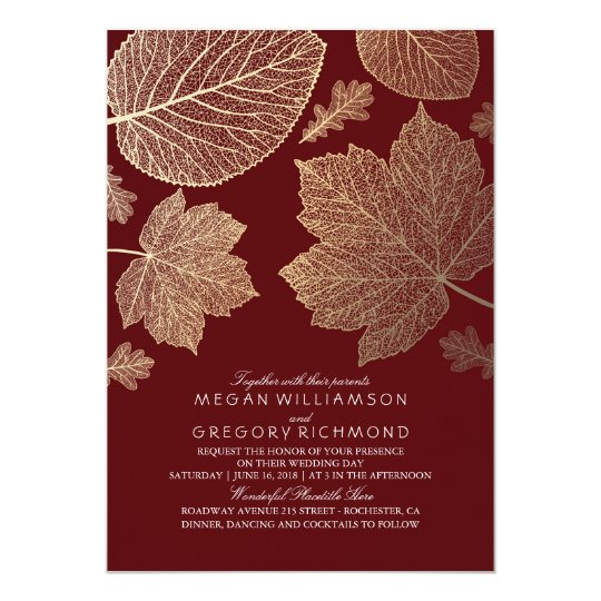 Burgundy And Gold Leaves Vintage Fall Wedding Invitation