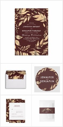 Burgundy and Gold Leaves Wreath Wedding Collection