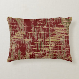 Burgundy and Gold Modern Art Accent Pillow