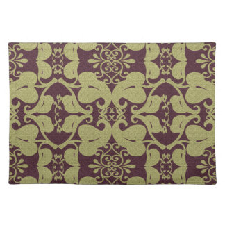 Burgundy And Gold Modern Elegant Leaf Pattern Placemat
