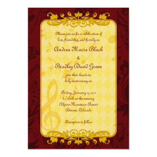 Burgundy And Gold Music Notes Wedding Invitation