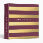 Burgundy And Gold Personalized Binder