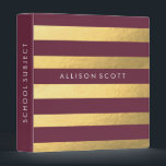 """Burgundy And Gold Personalized Binder<br><div class=""""desc"""">This super cute burgundy and gold binder would be perfect for anything! Whether you want to keep your school subjects organized or recipes, they&#39;ll look amazing in this binder! Personalize this binder just for you by adding whatever text you&#39;d like on to the spine of the binder, and on the...</div>"""