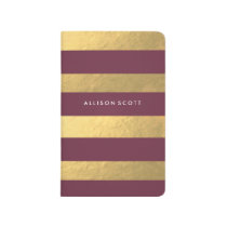 Burgundy And Gold Personalized Journal