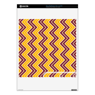 Burgundy and Gold Sideways Chevron Decal For The PS3 Slim