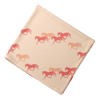 Burgundy and Gold Trotting Horses Pattern Bandana