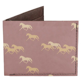 Burgundy and Gold Trotting Horses Pattern Billfold Wallet