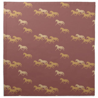 Burgundy and Gold Trotting Horses Pattern Cloth Napkin