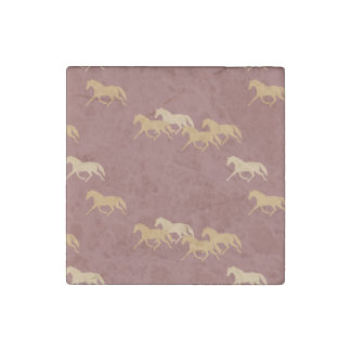 Burgundy and Gold Trotting Horses Pattern Stone Magnet