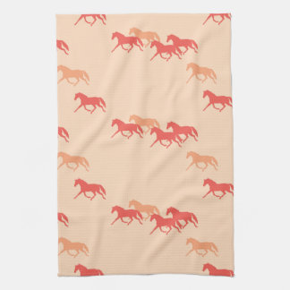 Burgundy and Gold Trotting Horses Pattern Kitchen Towels