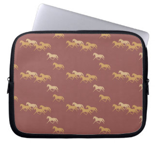 Burgundy and Gold Trotting Horses Pattern Laptop Sleeve