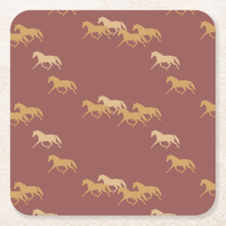 Burgundy and Gold Trotting Horses Pattern Square Paper Coaster