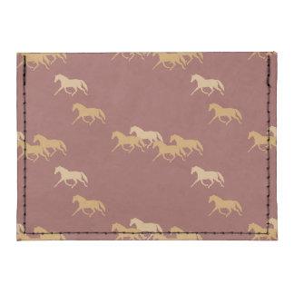 Burgundy and Gold Trotting Horses Pattern Tyvek® Card Case Wallet
