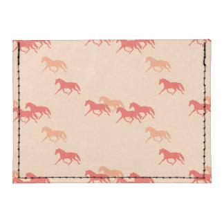 Burgundy and Gold Trotting Horses Pattern Tyvek® Card Wallet
