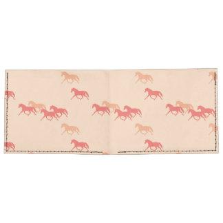 Burgundy and Gold Trotting Horses Pattern Tyvek Wallet