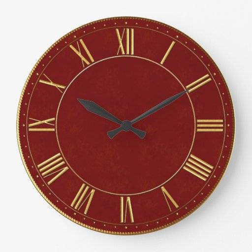 Burgundy and Gold Vintage Roman Numeral Round Wall Clock