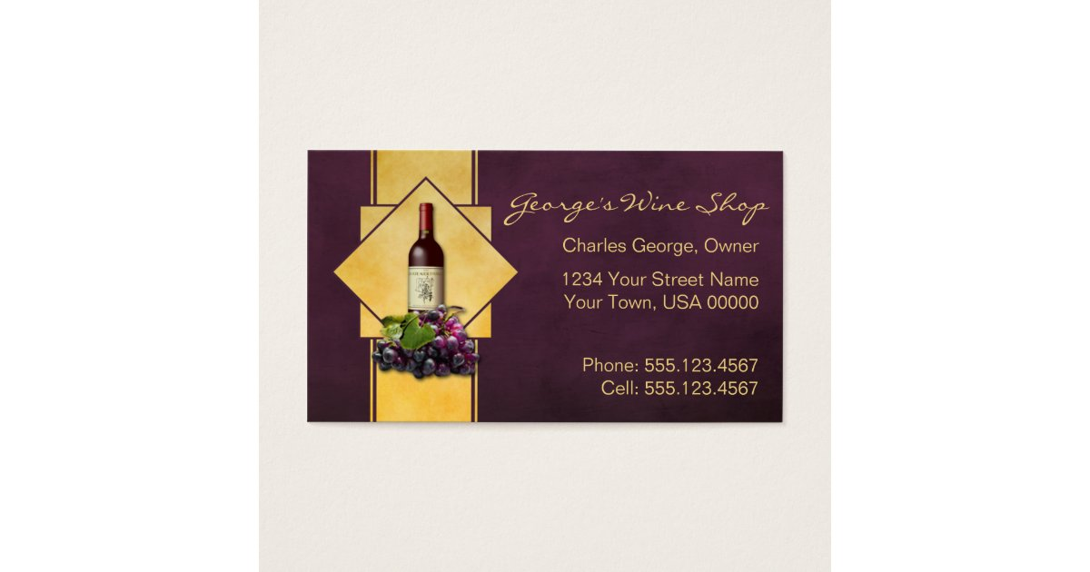 Burgundy and Gold Wine Shop Business Card | Zazzle.com
