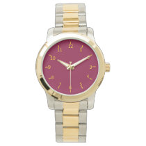 Burgundy and Gold Wrist Watch