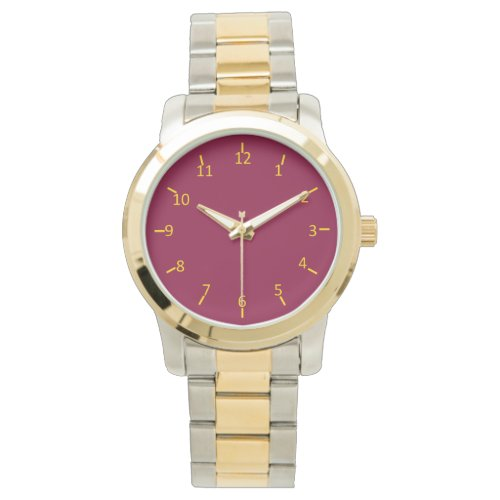 Burgundy and Gold Wrist Watch