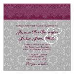 "Burgundy and Gray Damask Monogram Wedding V24 5.25"" Square Invitation Card"