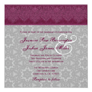 Burgundy and Gray Damask Monogram Wedding V24 5.25x5.25 Square Paper Invitation Card