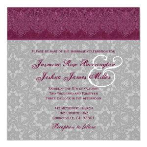 Burgundy and Gray Damask Monogram Wedding V24 5.25x5.25 Square Paper Invitation Card