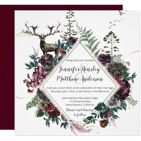 Burgundy and Gray Floral with Stag and Greenery  | Invitation