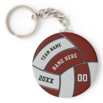 Burgundy and Gray Volleyball Keychains Personalize